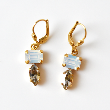 Mixed Cut Crystal Drop Earrings - Goldmakers Fine Jewelry