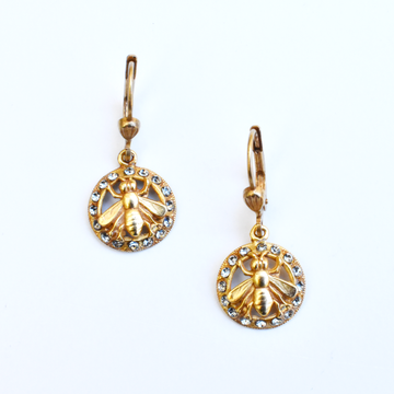 Crystal Bee Earrings - Goldmakers Fine Jewelry