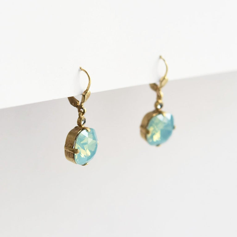 Classic Caribbean Blue Opal Crystal Gold Drop Earrings - Goldmakers Fine Jewelry