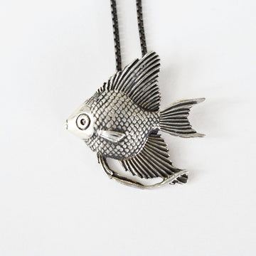 Angel Fish Pendant Necklace - Goldmakers Fine Jewelry