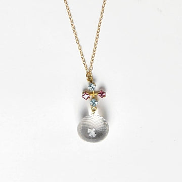 Faceted Premium Quartz and Gemstone Pendant - Goldmakers Fine Jewelry