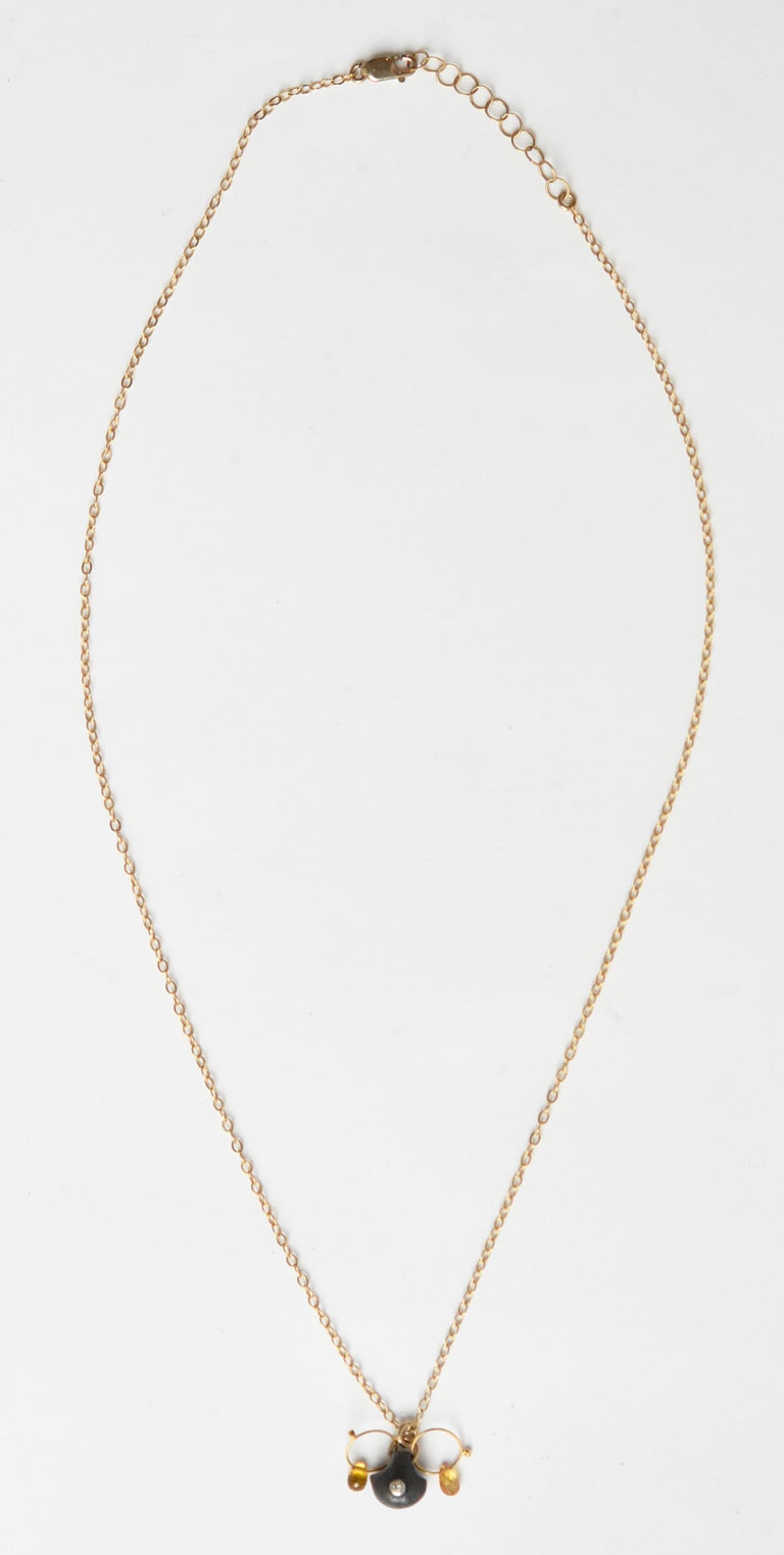 White and Yellow Topaz Drop  Necklace - Goldmakers Fine Jewelry