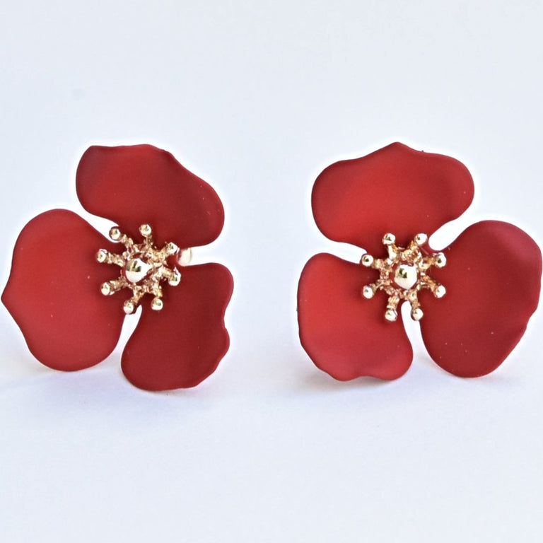 Red Blooming Lotus Post Earrings - Goldmakers Fine Jewelry