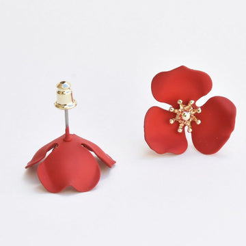 Red Blooming Lotus Post Earrings