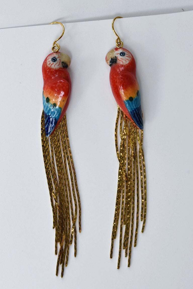 Scarlet Macaw Gold Rain Earrings - Goldmakers Fine Jewelry