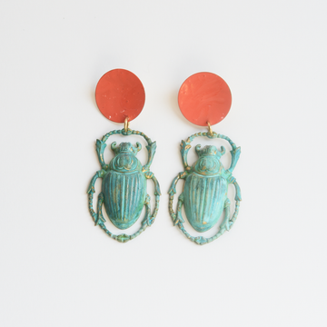 Teal and Coral Scarab Beetle Earrings - Goldmakers Fine Jewelry