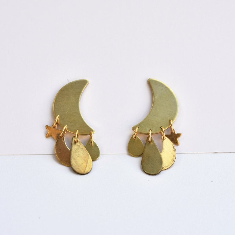 Crescent Moon Post Earrings - Goldmakers Fine Jewelry