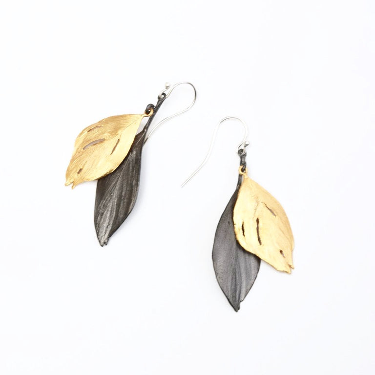 Two Feather Drop Earrings - Goldmakers Fine Jewelry