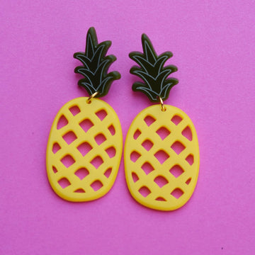 XL Pineapple Earrings - Goldmakers Fine Jewelry
