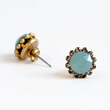Blue Flower Stud Earrings - Goldmakers Fine Jewelry