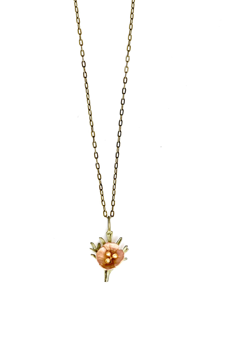 California Poppy Pendant Necklace - Goldmakers Fine Jewelry