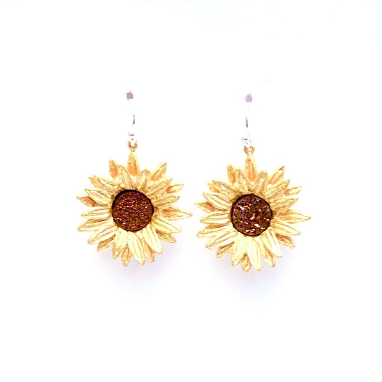 Large Sunflower Druzy Earrings - Goldmakers Fine Jewelry