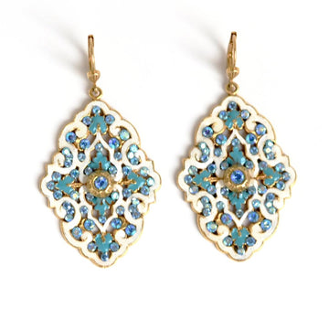 Bella Patina Drop Earrings in Blue - Goldmakers Fine Jewelry