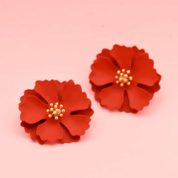 Camellia Blossom Flame-Red Post Earrings - Goldmakers Fine Jewelry