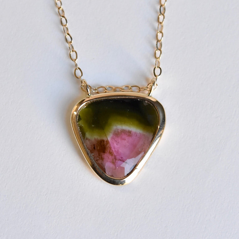 Tourmaline Slice Necklace in Gold - Goldmakers Fine Jewelry