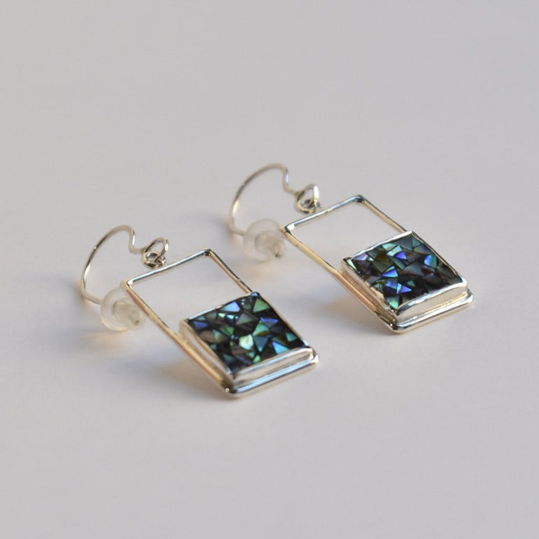 Geometric Abalone Mosiac Earrings in Silver - Goldmakers Fine Jewelry