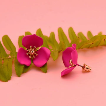 Blooming Lotus Hot Pink Post Earrings - Goldmakers Fine Jewelry