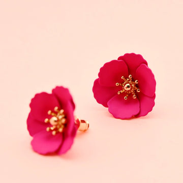 Hot Pink Floral Studs - Goldmakers Fine Jewelry