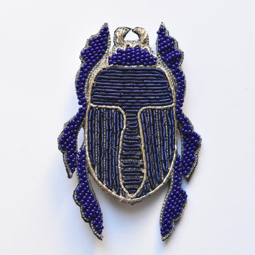 Blue Sapphire Scarab Brooch - Goldmakers Fine Jewelry