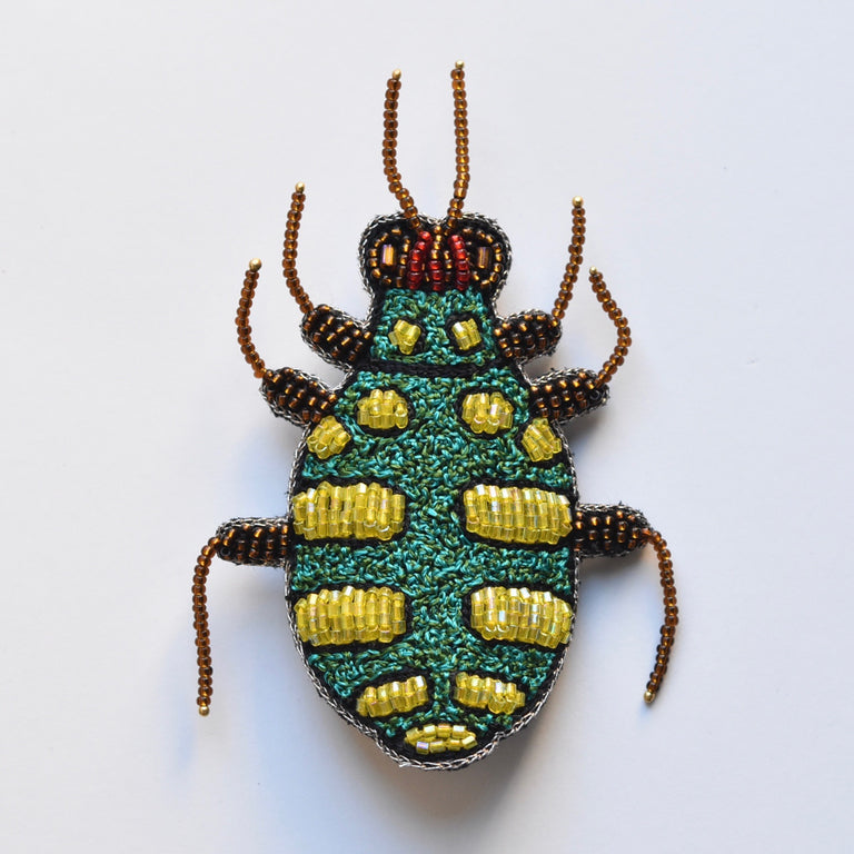 Green and Gold Beetle Brooch - Goldmakers Fine Jewelry