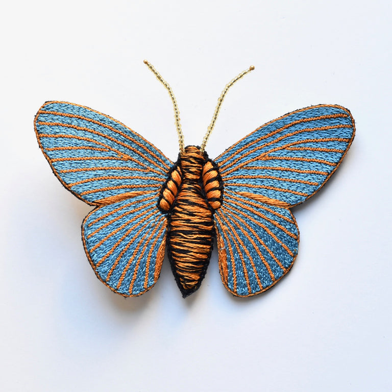 Blue and Orange Embroidered Butterfly Brooch - Goldmakers Fine Jewelry