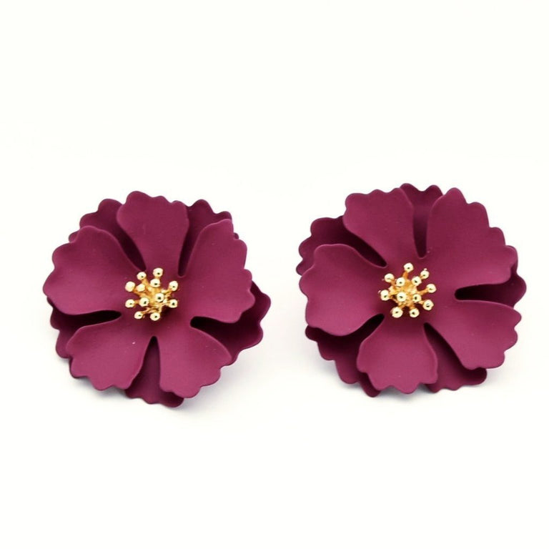 Camellia Blossom Post Earrings in Wine - Goldmakers Fine Jewelry