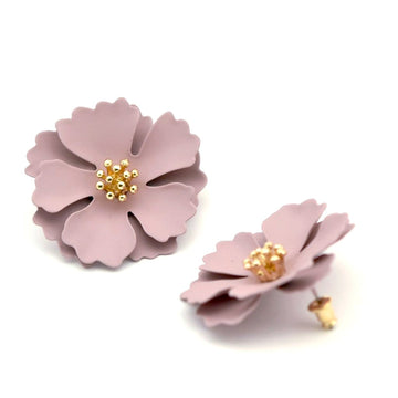 Camellia Blossom Post Earrings in Soft Mauve - Goldmakers Fine Jewelry