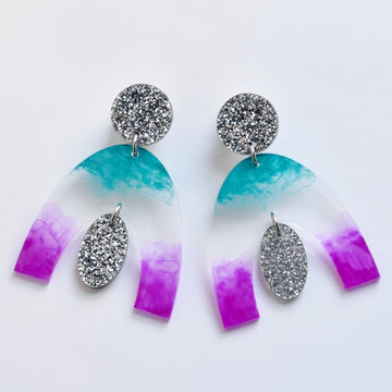 Arch Post Earrings in Teal and Purple - Goldmakers Fine Jewelry
