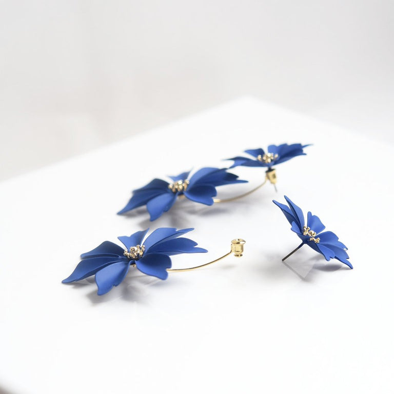 Cobalt and Gold Wildflower Earring Jackets - Goldmakers Fine Jewelry