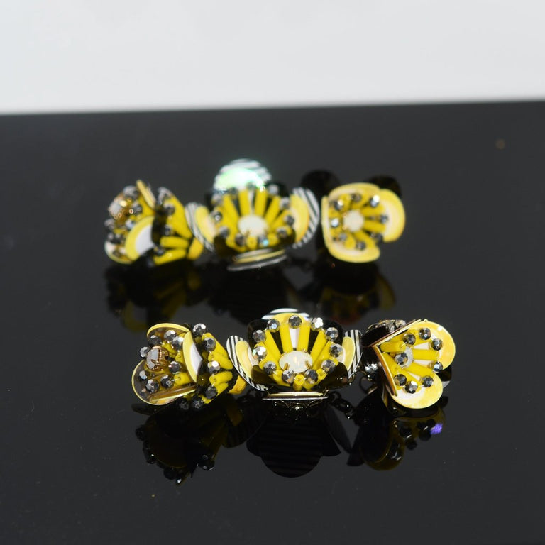 Cascading Flower Earrings In Bumblebee - Goldmakers Fine Jewelry