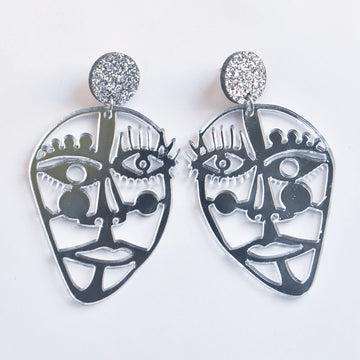 Picasso Statement Post Earrings in Silver - Goldmakers Fine Jewelry