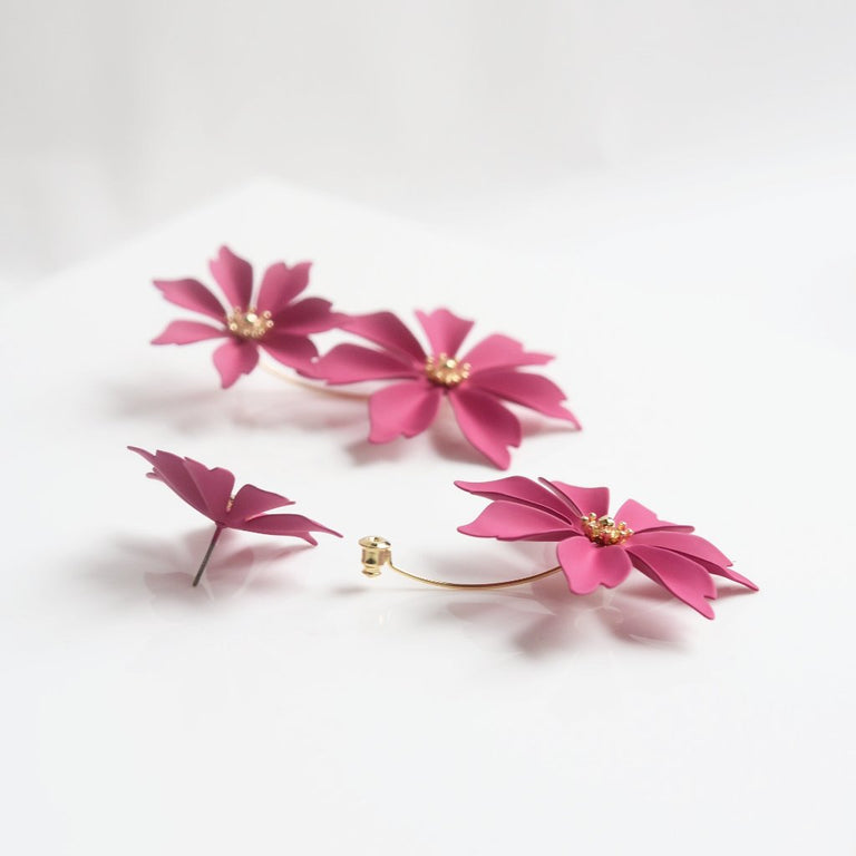 Hot Pink Wildflower Earring Jackets - Goldmakers Fine Jewelry