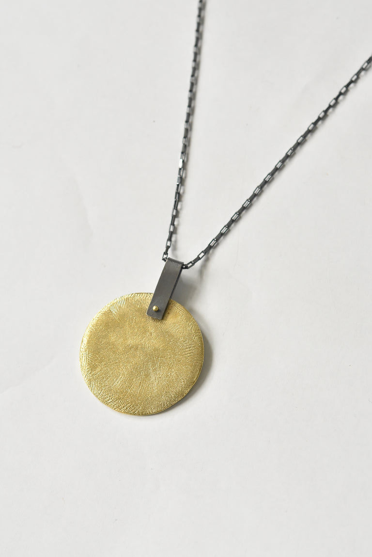 Brass Flint Disk Necklace - Goldmakers Fine Jewelry