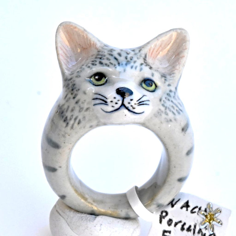 Gray Tabby Cat Ring - Goldmakers Fine Jewelry