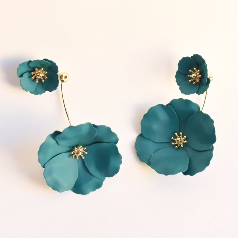 Poppy and Gold Floral Earring Jackets in Teal - Goldmakers Fine Jewelry