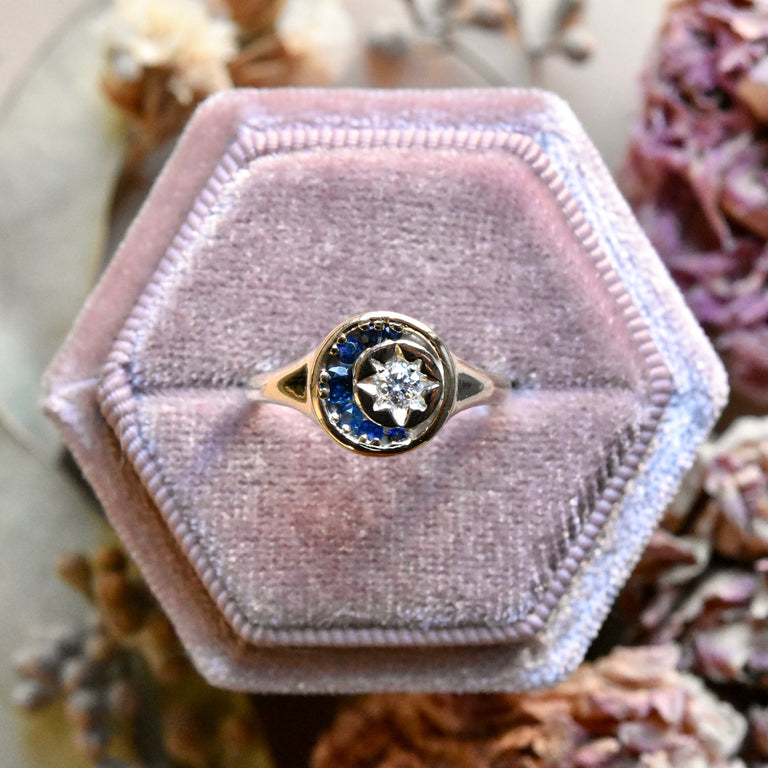 Stella Luna Ring in Yellow Gold with Diamonds and Sapphires - Goldmakers Fine Jewelry