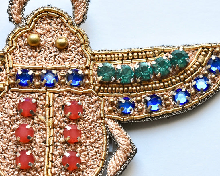 Flying Jeweled Scarab Brooch - Goldmakers Fine Jewelry