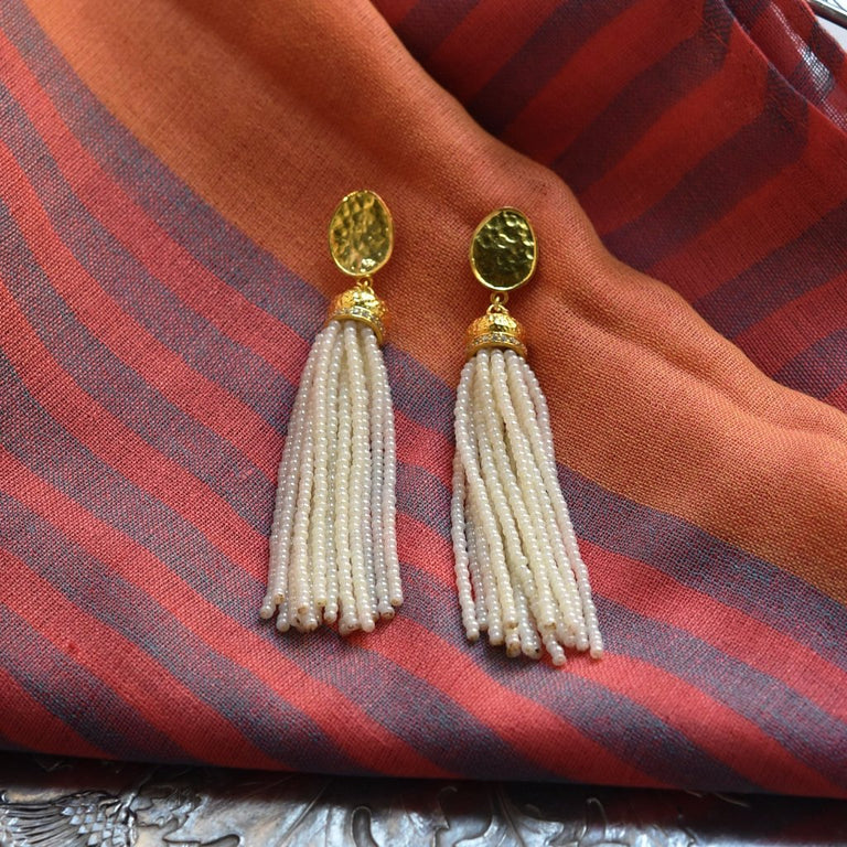 Long Pearl Tassel Earrings - Goldmakers Fine Jewelry