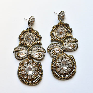 Embroidered Bow Statement Earrings - Goldmakers Fine Jewelry