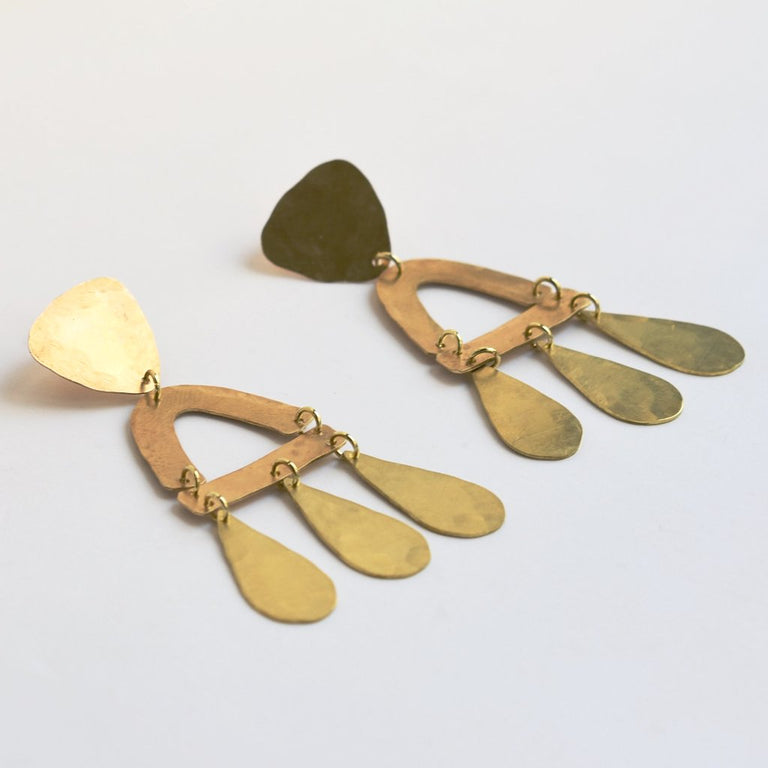 Ishtar Earrings in Brass - Goldmakers Fine Jewelry