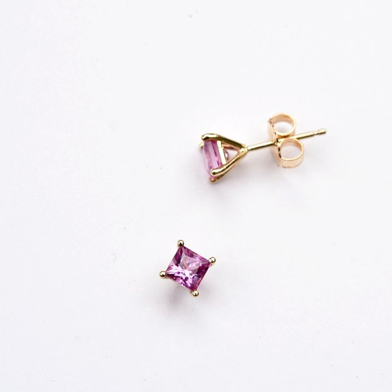 Pink Sapphire Post Earrings in Gold - Goldmakers Fine Jewelry