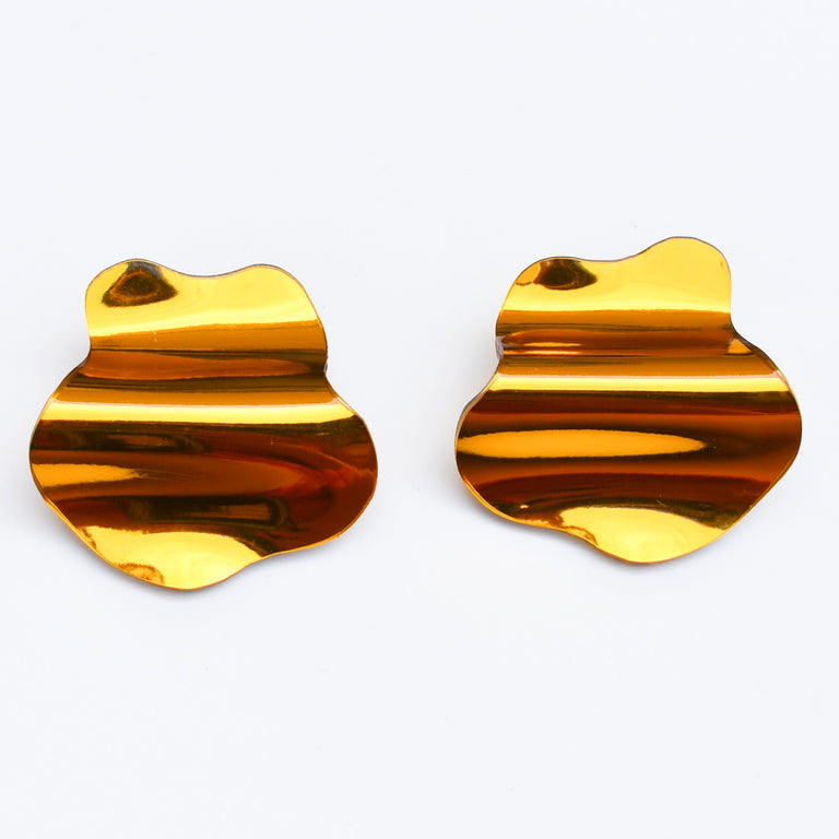Reflective Gold Large Flow Stud Earrings - Goldmakers Fine Jewelry