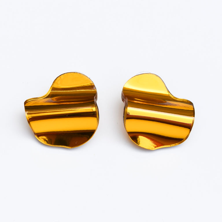 Reflective Gold Small Flow Stud Earrings - Goldmakers Fine Jewelry