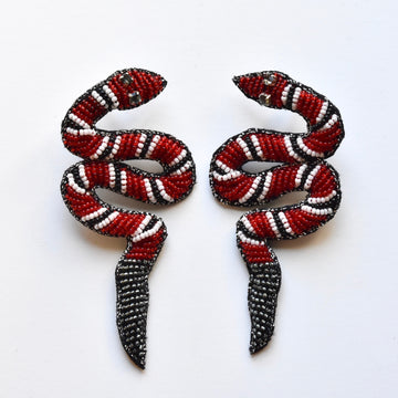 Beaded Corn Snake Earrings - Goldmakers Fine Jewelry