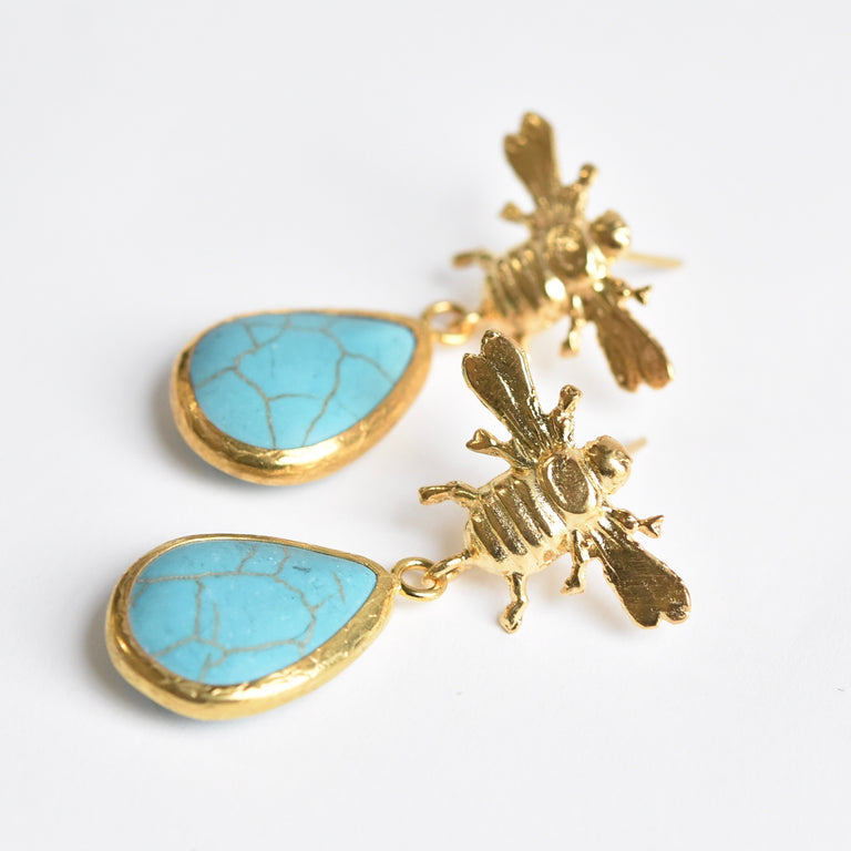 Turquoise Bee Earrings in Gold - Goldmakers Fine Jewelry