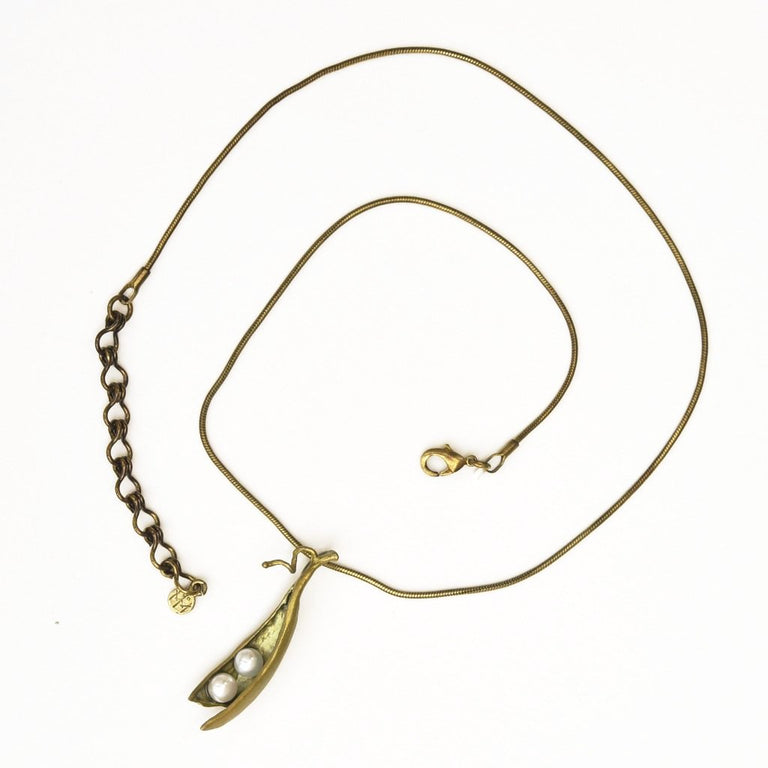 PeaPod Necklace Two Peas - Goldmakers Fine Jewelry