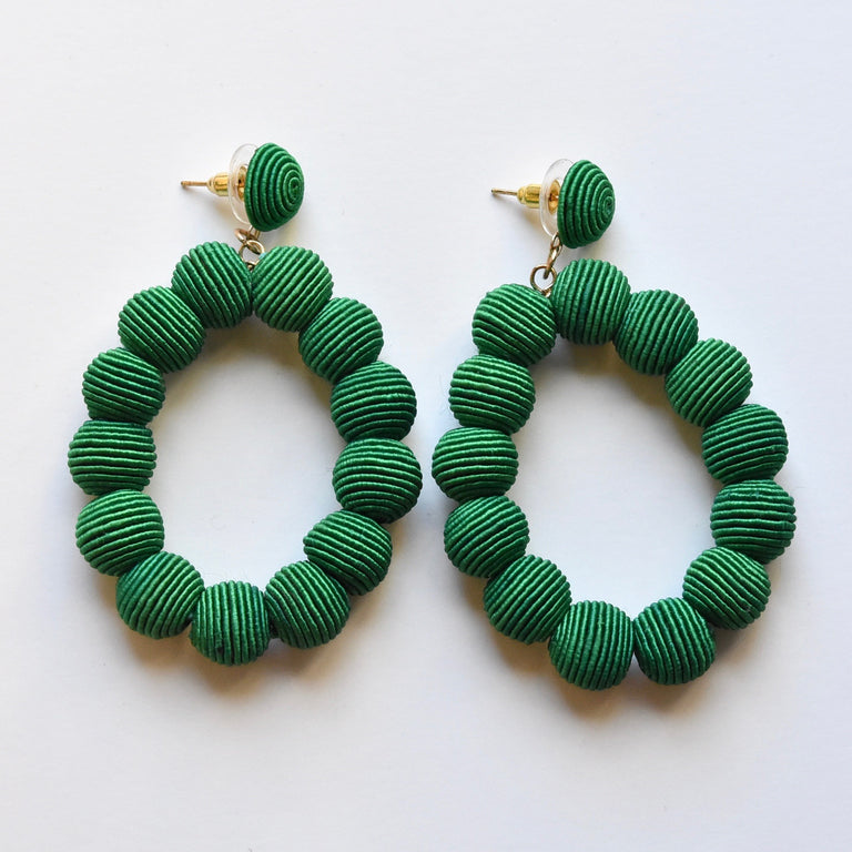 Emerald Woven Bead Earrings - Goldmakers Fine Jewelry