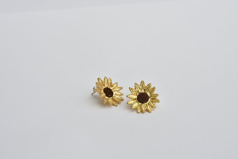 Sunflower Druzy Post Earrings - Goldmakers Fine Jewelry