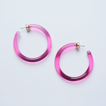 Hot Pink Hoop Earrings - Goldmakers Fine Jewelry