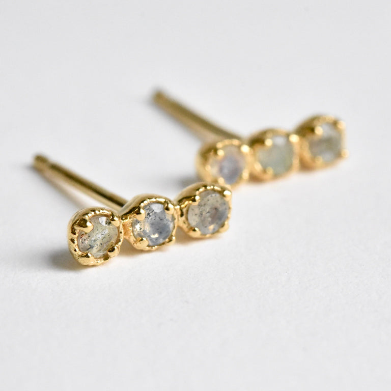 Rainbow Moonstone Post Earrings in Gold